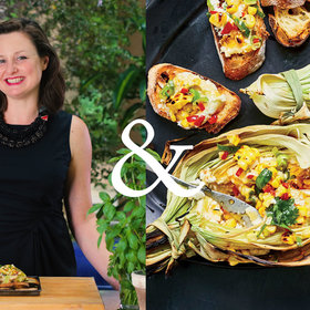 Food & Wine: Corn Husk–Grilled Goat Cheese with Corn Relish and Honey