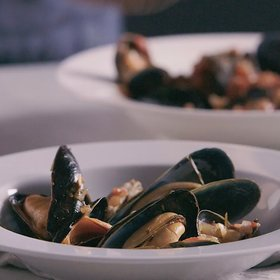 Food & Wine: Steamed Mussels with Tomato and Garlic Broth