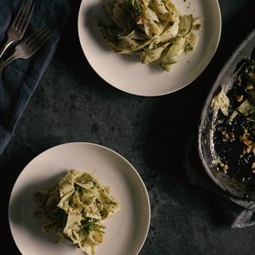 Food & Wine: Pappardelle with Summer Squash and Arugula-Walnut Pesto