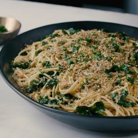 Food & Wine: Garlicky Spaghetti with Mixed Greens