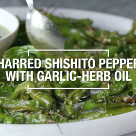 Food & Wine: Charred Shishito Peppers with Garlic Herb Oil