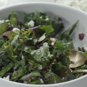 mkgalleryamp; Wine: Kale Salad with Cranberries, Almonds and Goat Cheese