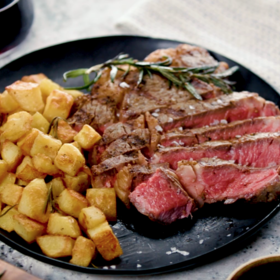 mkgalleryamp; Wine: Grilled Ribeye Steaks with Roasted Rosemary Potatoes