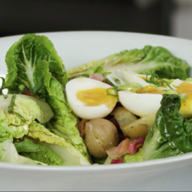 Food & Wine: Little Gems with Jammy Eggs, Potatoes, and Warm Bacon Vinaigrette