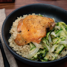 Food & Wine: Crispy Chicken Thighs over Melted Zucchini