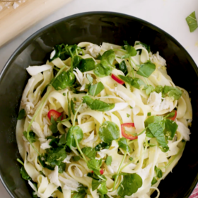 Food & Wine: Tagliatelle with Crab Pea Shoots and Herbs