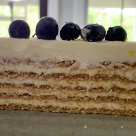 Food & Wine: Lemony Layered Cheesecake