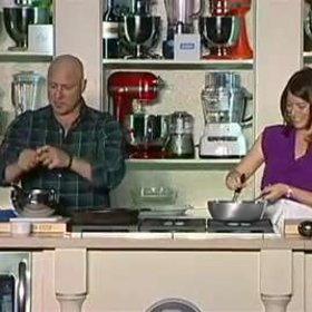 Food & Wine: Gail Simmons & Tom Colicchio: Grilled Squab with Peach Salad