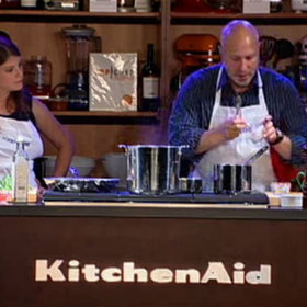Food & Wine: Tom Colicchio and Gail Simmons: Spiced Roasted Lobster with Pea Ravioli