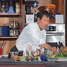 Food & Wine: Ming Tsai: Shrimp Crusted Halibut with Spicy Asparagus Salad