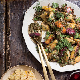 Food & Wine: Warm Lentil and Root Vegetable Salad with Coconut Tzatziki