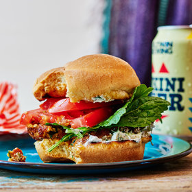 Food & Wine: Zucchini Burgers with Roasted Garlic Tzatziki