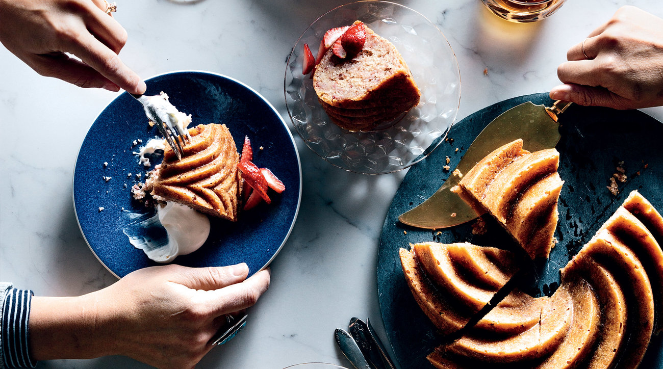 Strawberry-Honey Cake with Sour Whipped Cream