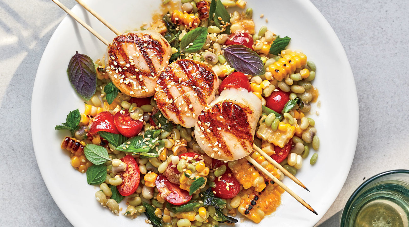 Grilled Scallops with Miso Corn Salad
