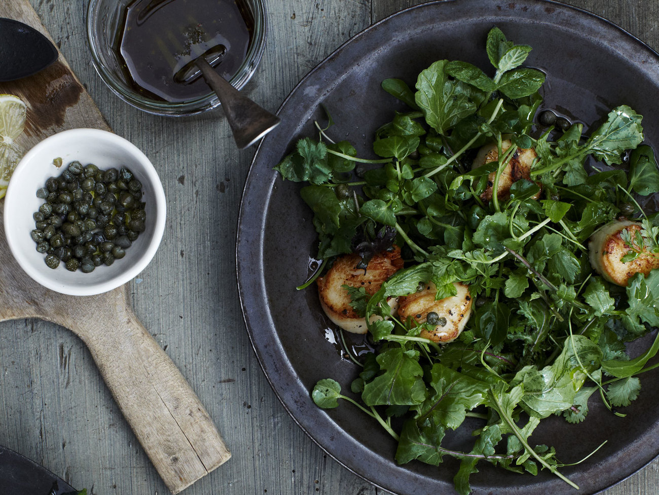 Grilled Scallops over Mixed Green and Herb Salad