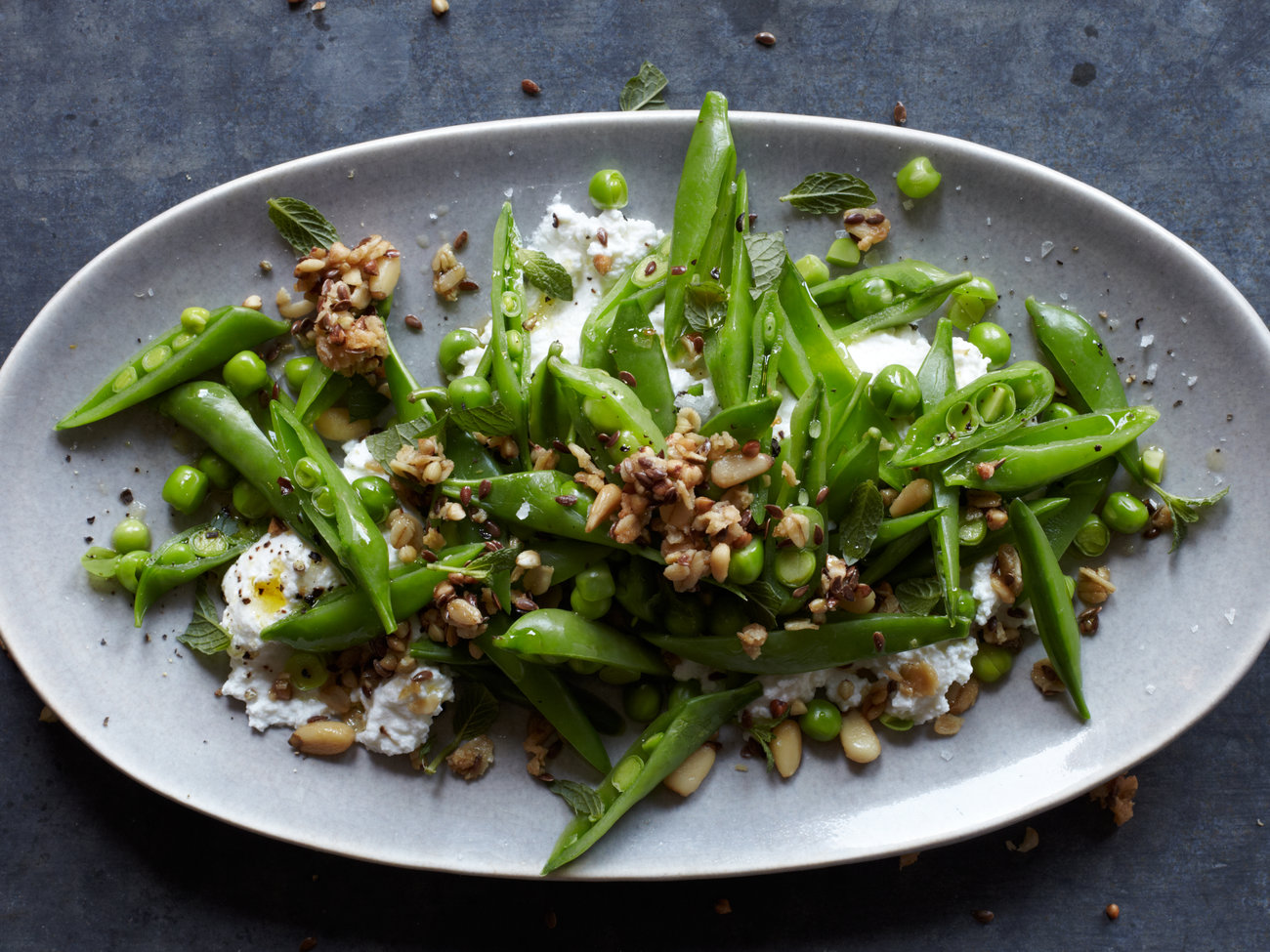 Sugar Snap Pea Salad with Pine Nut-Kasha Granola & Ricotta