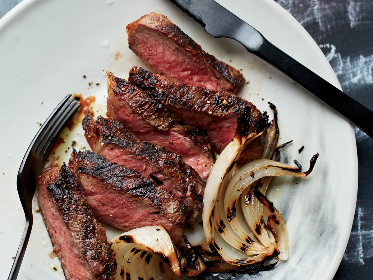 FWX FAST AND EASY GRILLING RECIPES GRILLED STRIP STEAKS WITH ONION WEDGES