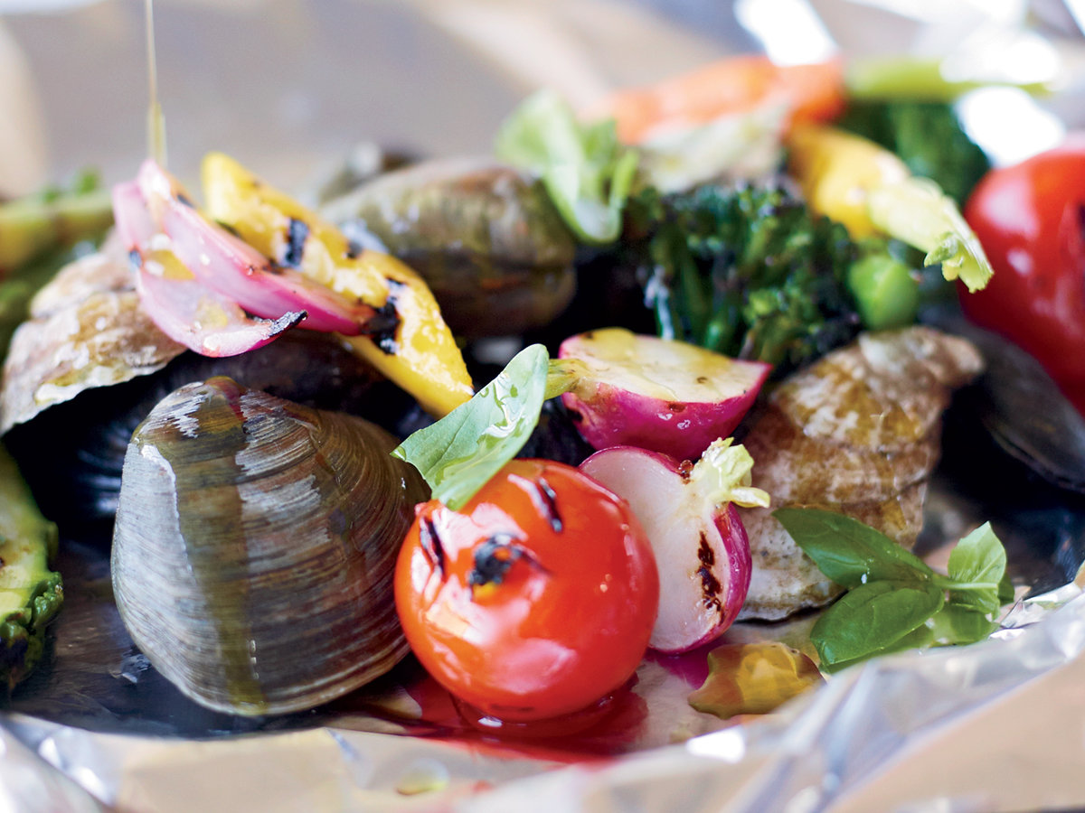 Grilled Shellfish and Vegetables al Cartoccio