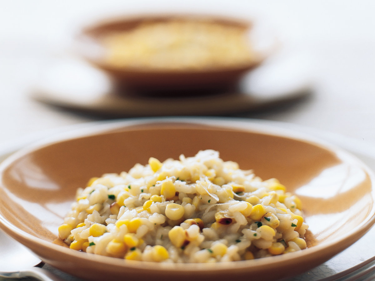 pics Roast Chicken Breasts with Sweetcorn Risotto and Caramelised Shallots Recipe