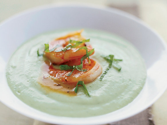 Chilled Cucumber-Avocado Soup with Spicy Glazed Shrimp ...