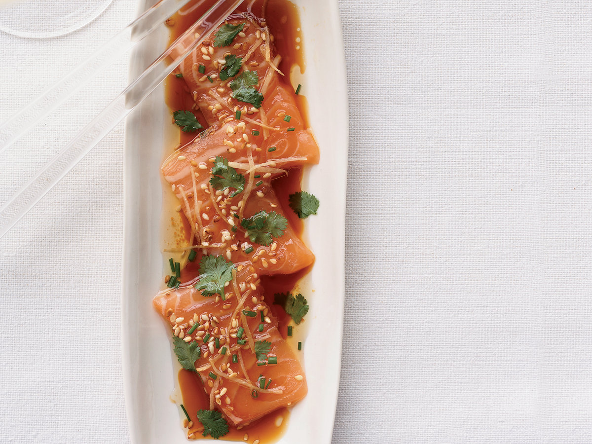 Salmon sashimi with ginger and hot sesame oil recipe tim cushman 200807 r salmon sashimig ccuart Gallery