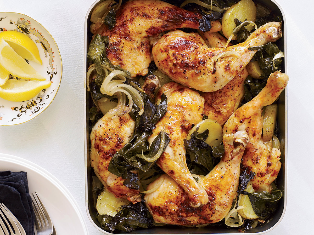 Roasted Chicken Legs with Potatoes and Kale
