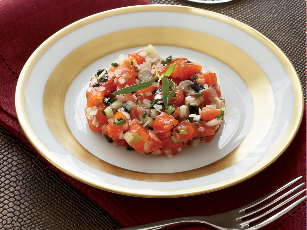Salmon Trout Tartare with Pressed Caviar and Tomatoes