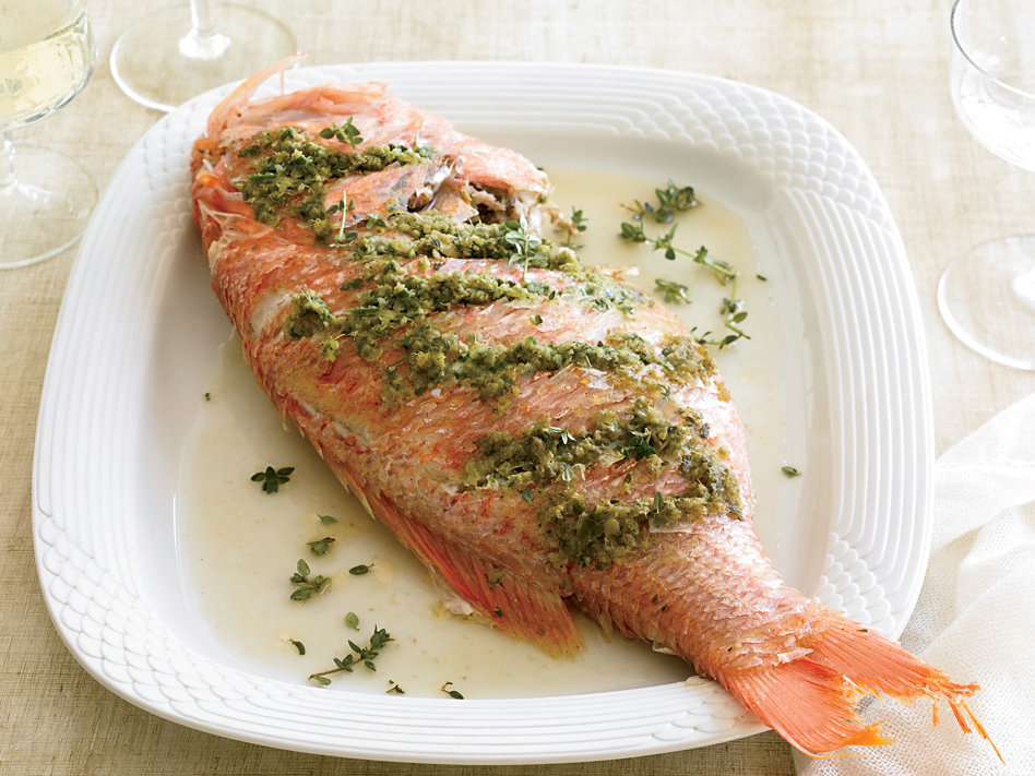 Roasted whole red snapper recipe grace parisi food wine for Roasted fish recipe
