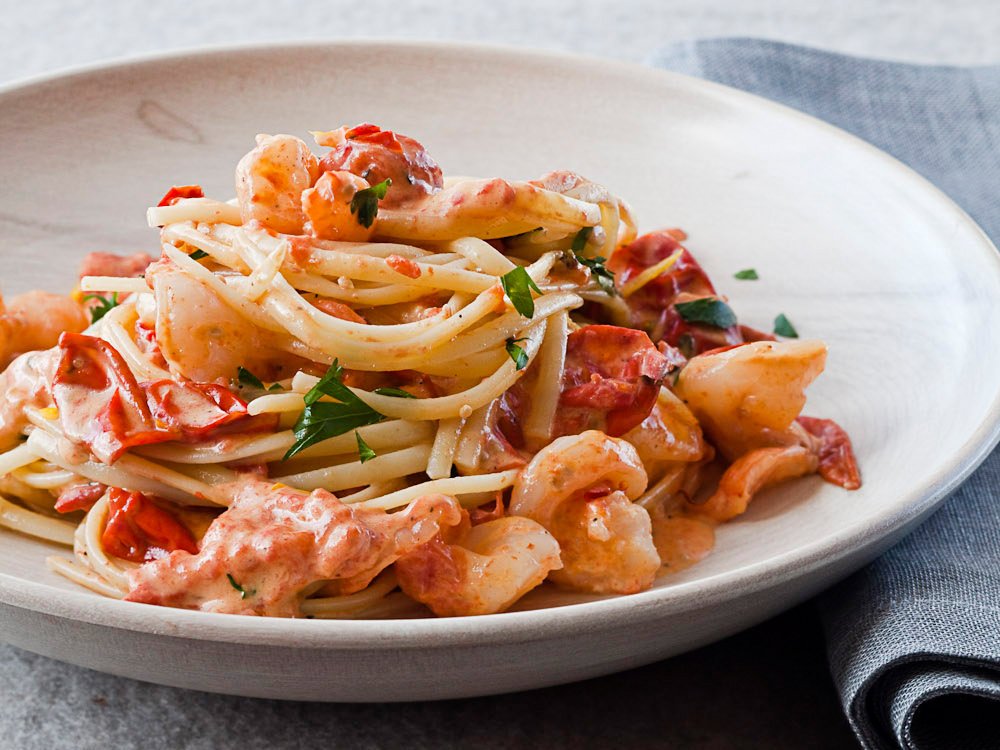 Linguine with Shrimp and Creamy Roasted Tomatoes Recipe ...