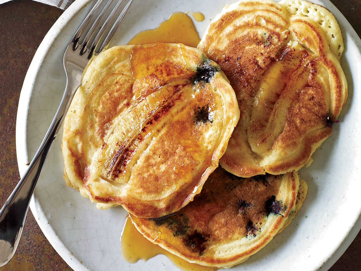 <p>Blueberry-Banana Pancakes</p>