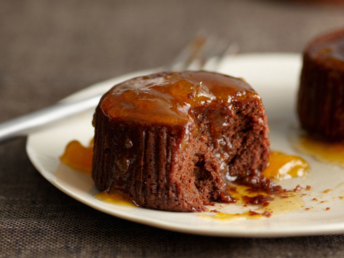 Warm Chocolate Cakes with Apricot-Cognac Sauce Recipe - Jacques ...