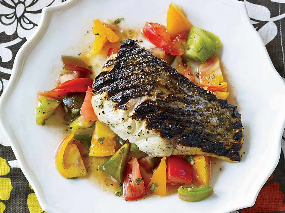 Day 26: Grilled Striped Bass with Indian-Spiced Tomato Salad