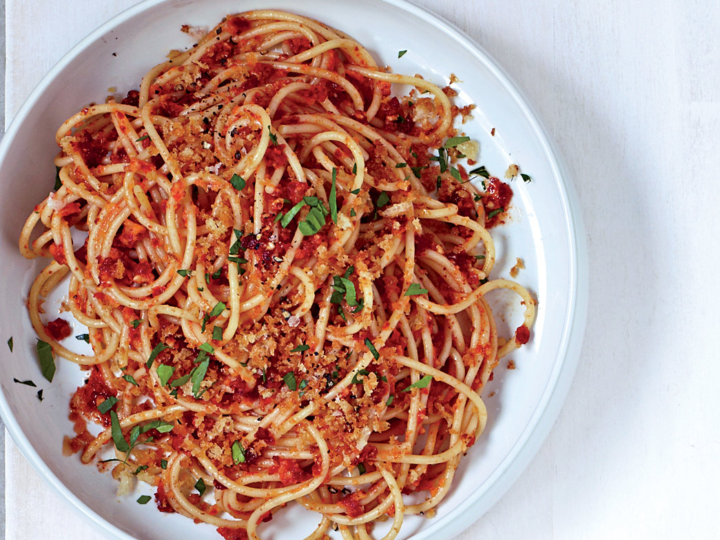 Day 19: Spaghetti with Sun-Dried-Tomato-Almond Pesto