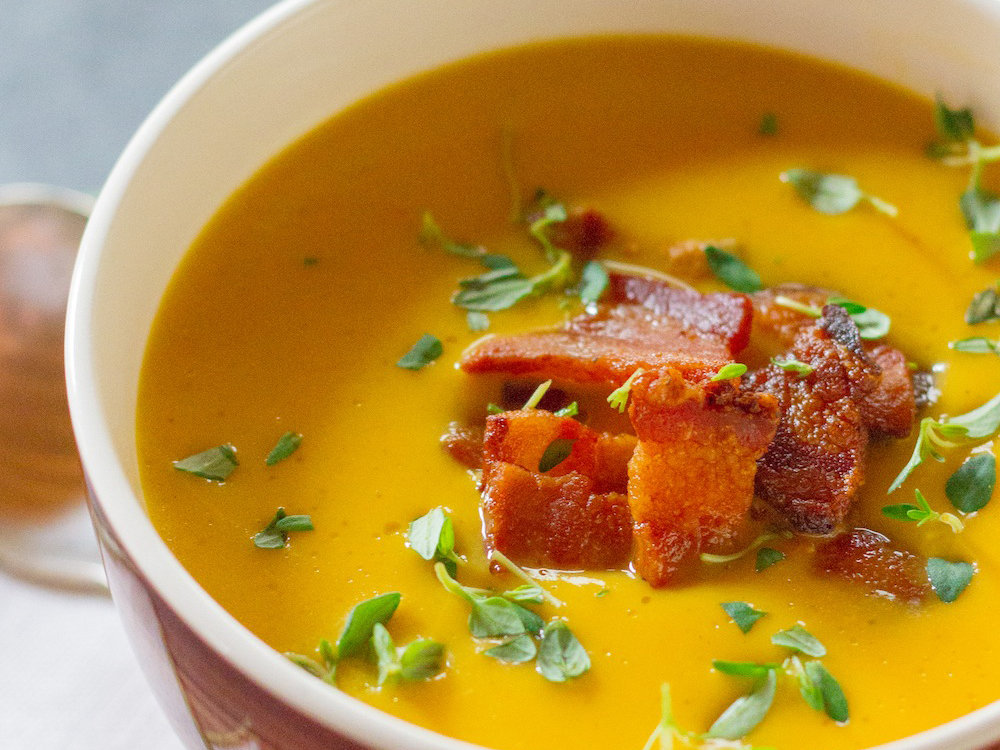 Roasted Pumpkin Soup with Bacon and Thyme