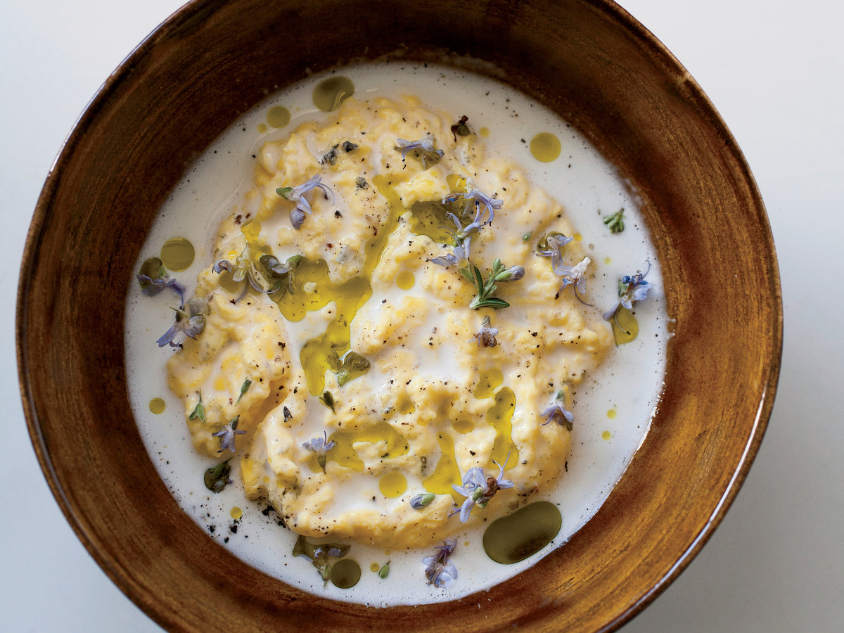 Poached Scrambled Eggs with Goat Cheese Sauce Recipe ...