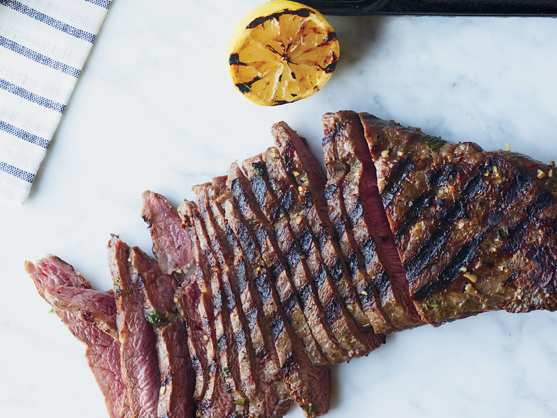 Day 7: Grilled Lemon-and-Garlic-Marinated Flat Iron Steak
