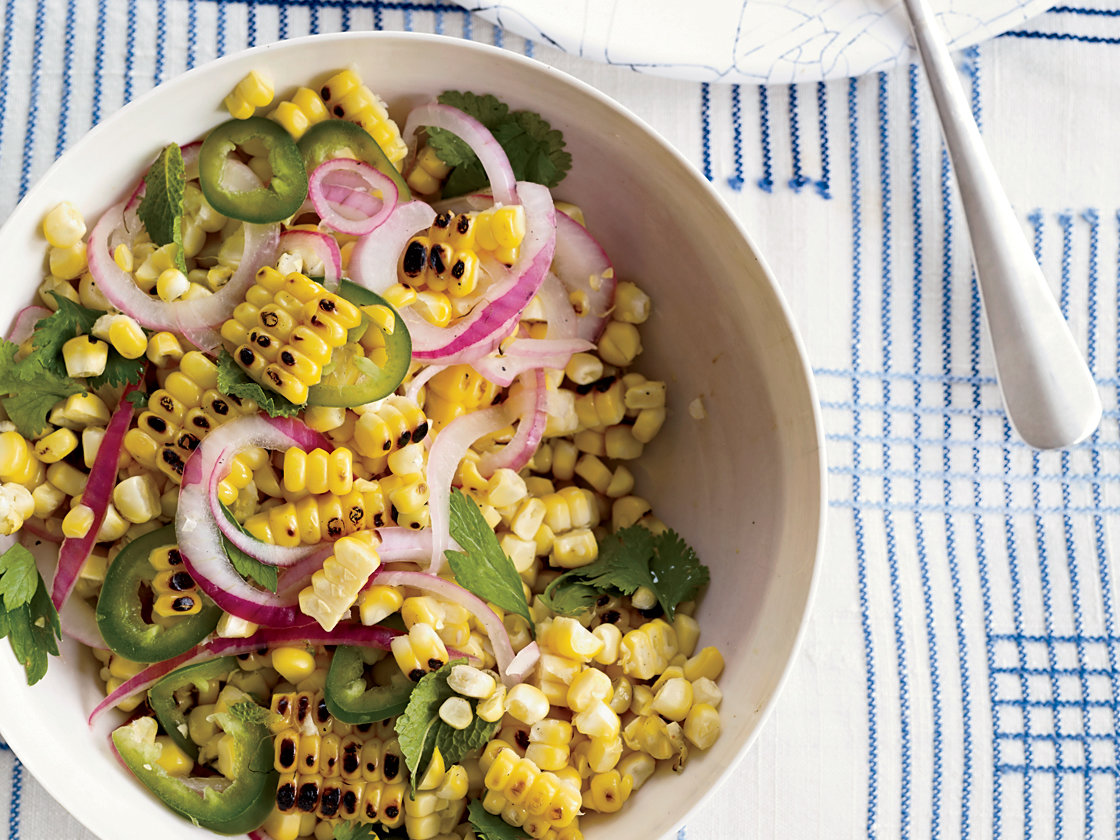 Charred Corn Salad with Mint, Parsley and Cilantro Recipe ...