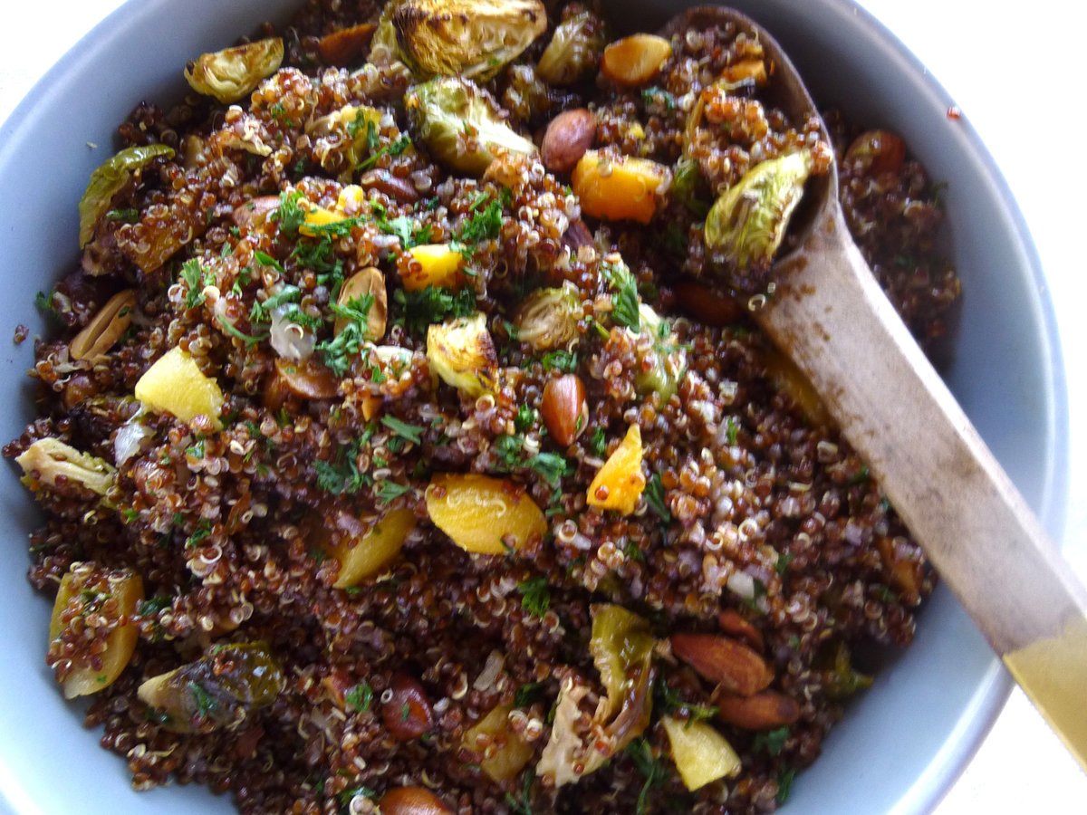 Red Quinoa Salad with Roasted Brussels Sprouts, Apricots ...