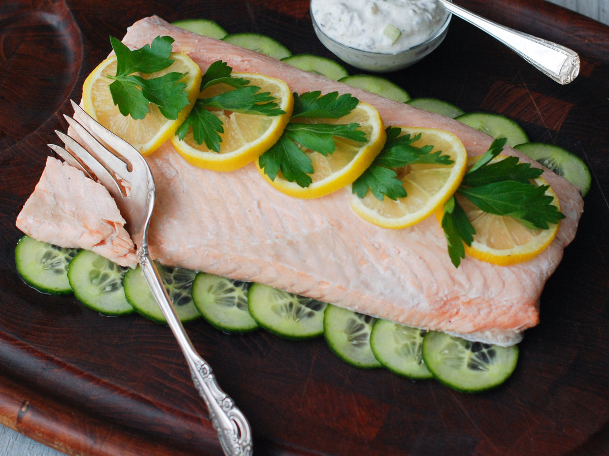 Cold Poached Salmon with Dill Sauce and Potato Salad picture