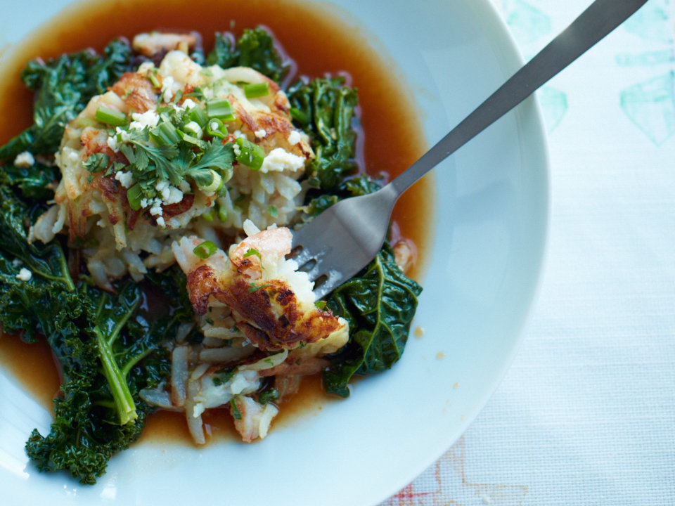 Shrimp And Potato Cakes With Kale Braised In Chile Broth Recipe Food Amp Wine