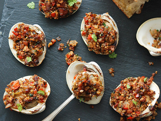 Spanish Style spanish-style baked stuffed clams recipe - andrew zimmern | food