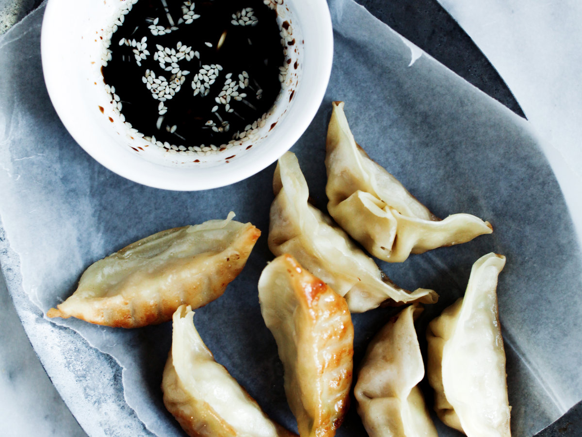 Day 18: Crispy Gluten-Free Pork Potstickers with Sesame Dipping Sauce