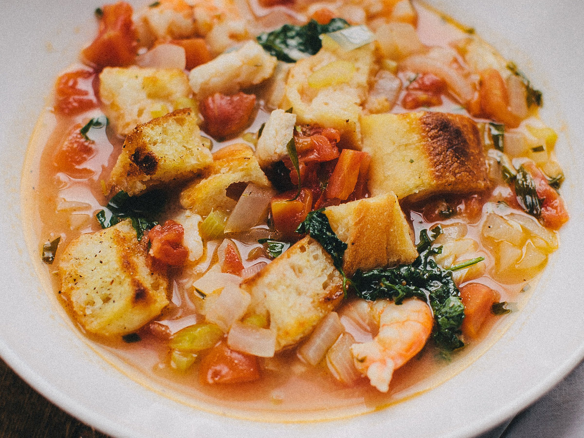 Shrimp And Cod With Tarragon Broth And Croutons Recipe Quick From