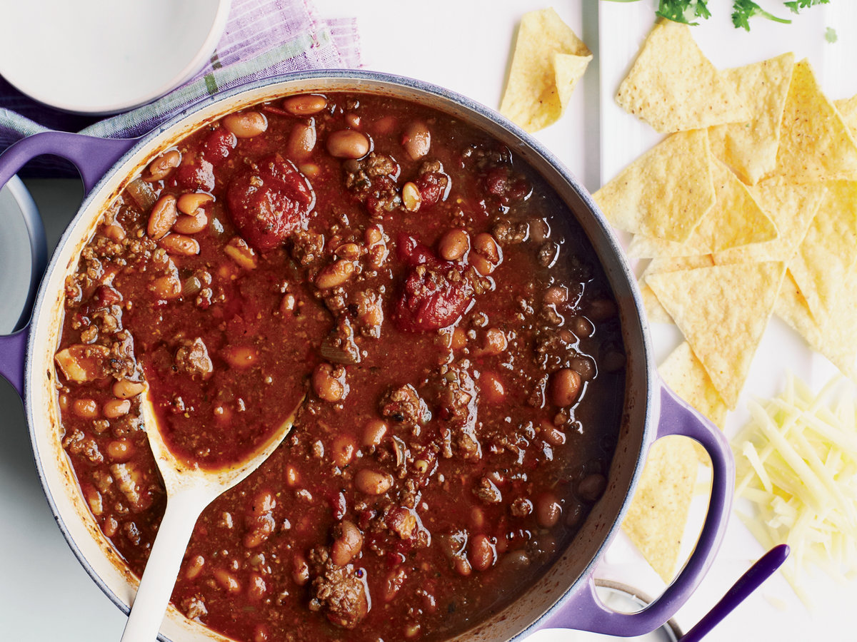 Three-Chile Beef Chili Recipe - Tony Maws