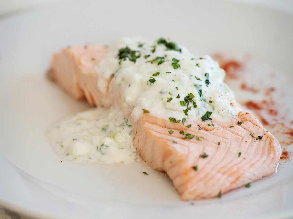 Poached salmon with cucumber raita recipe quick from for Poaching fish in wine