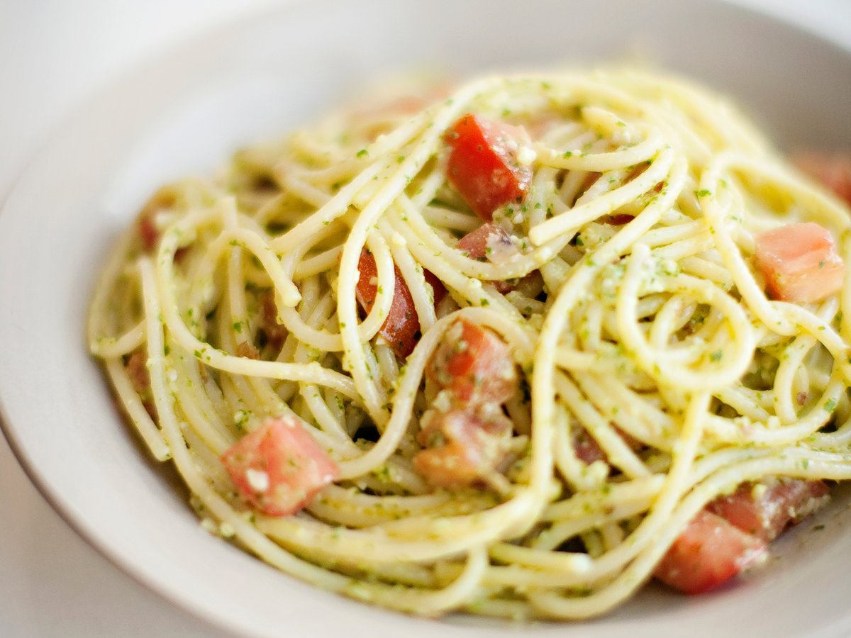 Spaghetti With Parsley Almond Pesto Recipe
