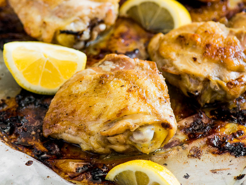 Lemon-and-Garlic Baked Chicken Thighs Recipe - Todd Porter ...