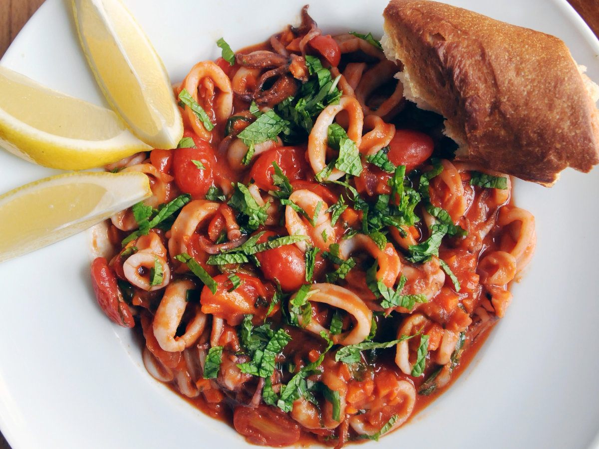 Squid with Tomato and Mint Rec...