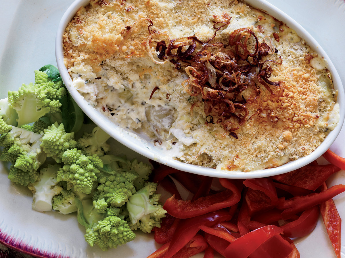 Artichoke Dip with Crispy Shallots
