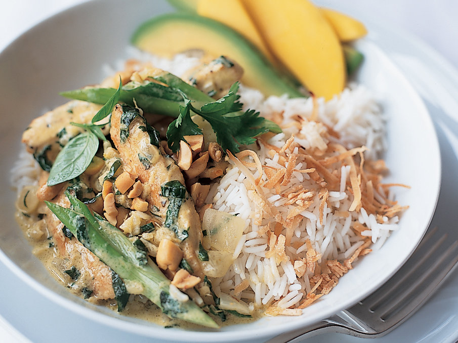 Basil Chicken Curry With Coconut Rice Recipe Kathy Gunst Food Wine
